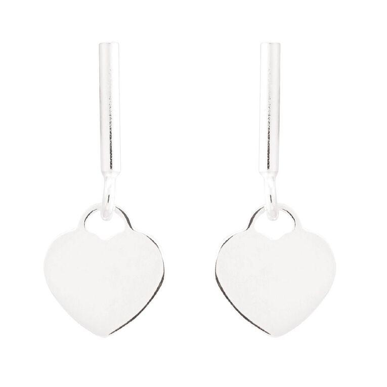 Sterling Silver Drop Heart Stud Earring, , hi-res