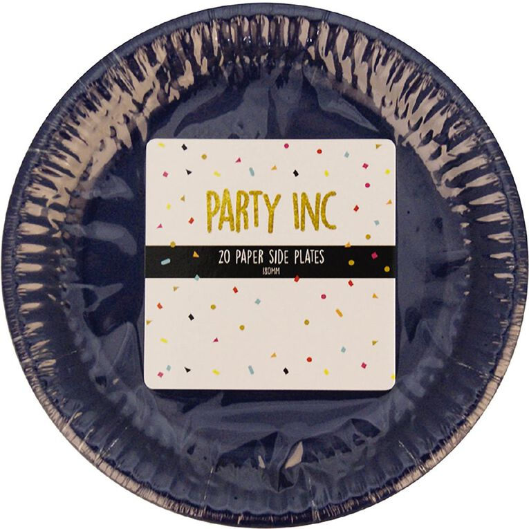 Party Inc Paper Side Plates 18cm Royal Blue 20 Pack, , hi-res