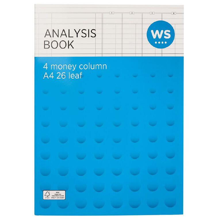 WS Analysis Book Limp 4 Column Green A4, , hi-res