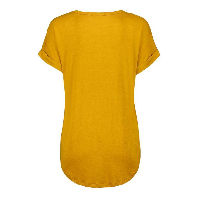 H&H Women's Scoop Neck Tee, Yellow Dark, hi-res