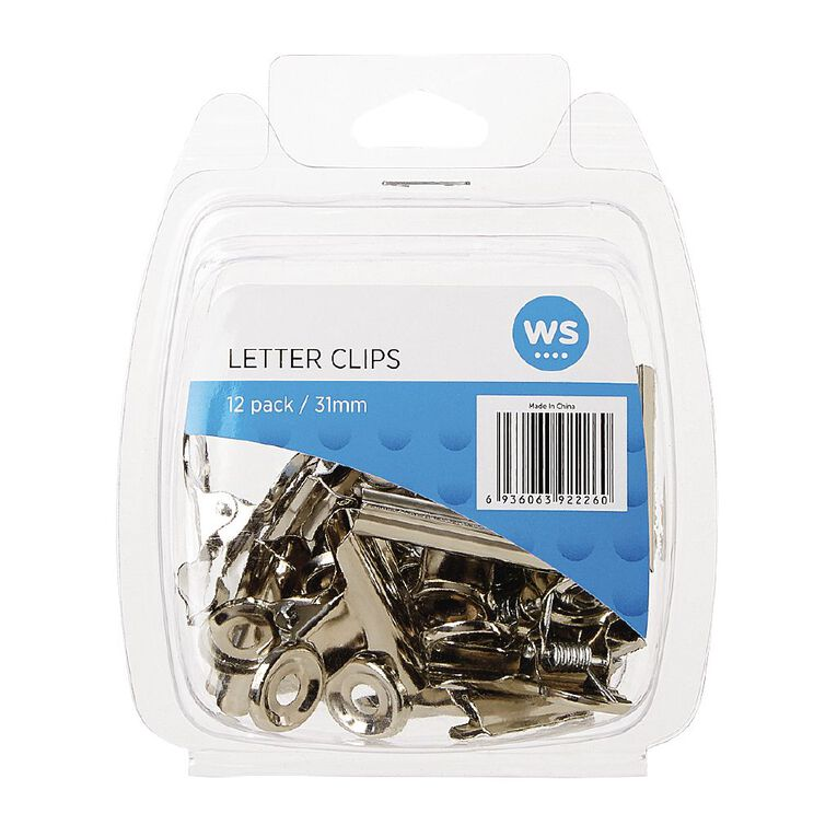 WS Letter Clips 31mm 12 Pack Silver, , hi-res