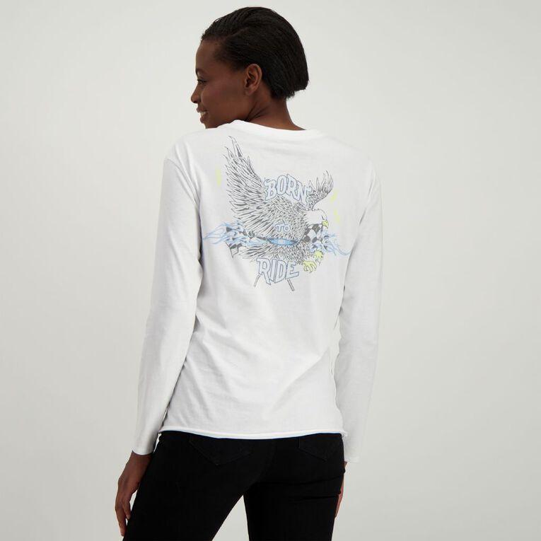 H&H Women's Long Sleeve Printed Tee, White, hi-res