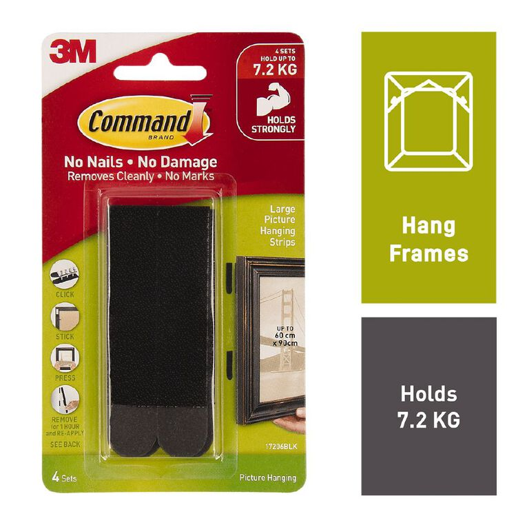 Command Picture Hanging Strips 4 Pack Black Large, , hi-res