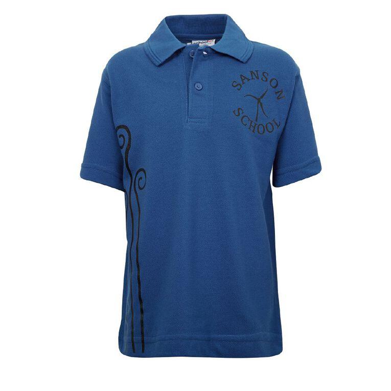 Schooltex Sanson School Short Sleeve Polo with Transfer, Royal, hi-res