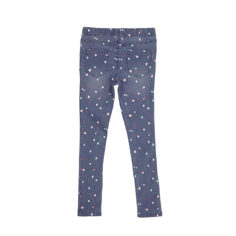 Young Original Girls' Printed Pull On Jeans, Blue Mid, hi-res