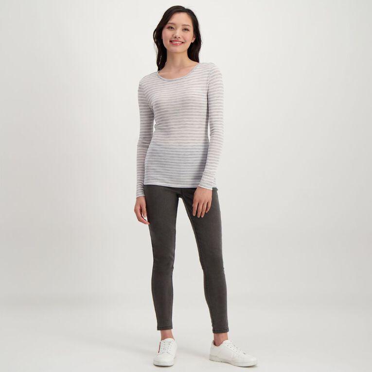 H&H Women's Merino Blend Stripe Crew, Grey/White, hi-res