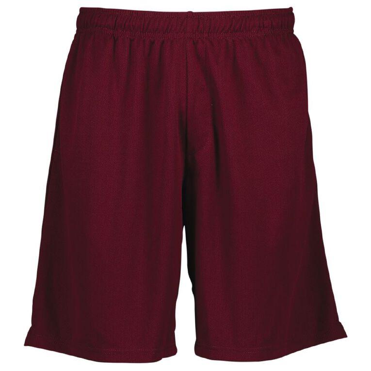 Schooltex Adults' Biz Cool Shorts, Maroon, hi-res