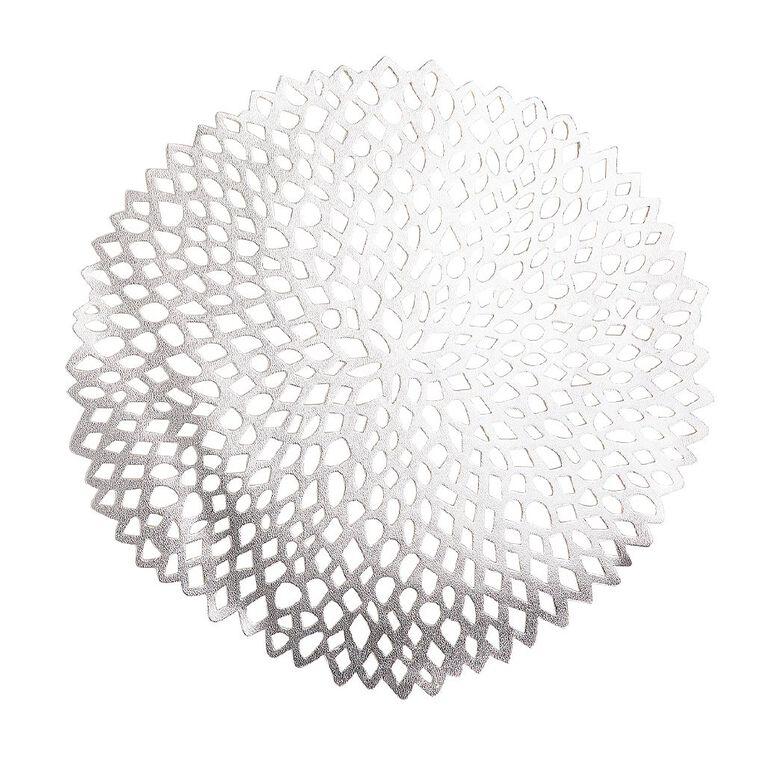 Living & Co PVC Placemat Flora Silver 38cm, , hi-res