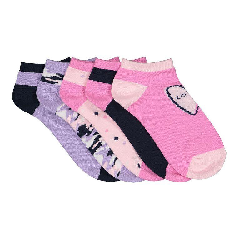 H&H Girls' Liner Socks 5 Pack, Navy, hi-res