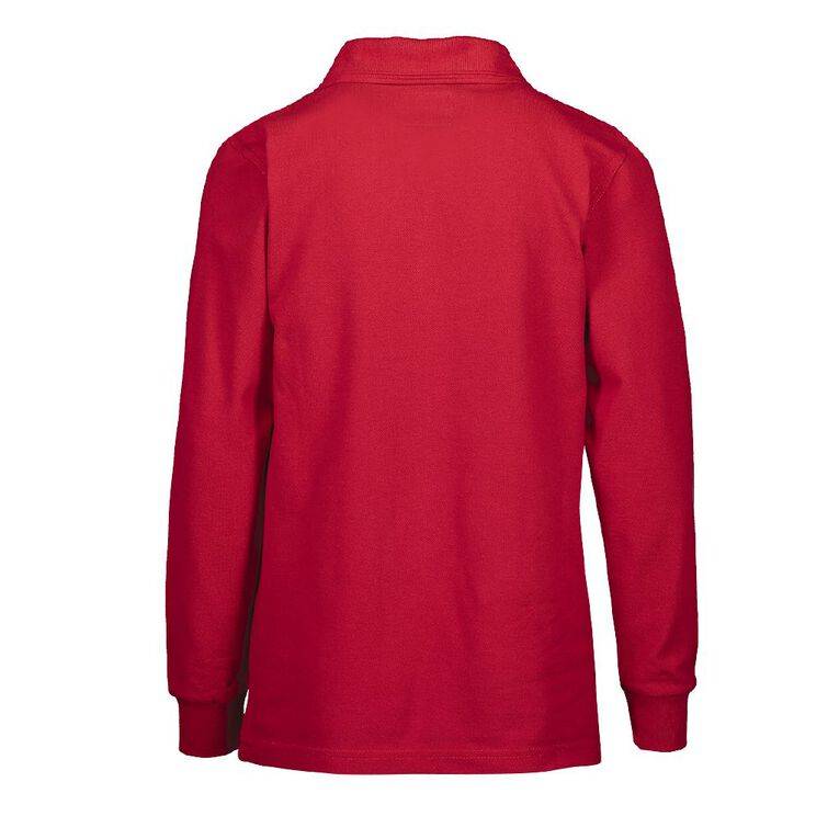 Schooltex Milson Long Sleeve Polo with Embroidery, Red, hi-res