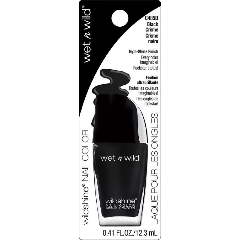 Wet n Wild Wild Shine Nail Color Black Creme, , hi-res
