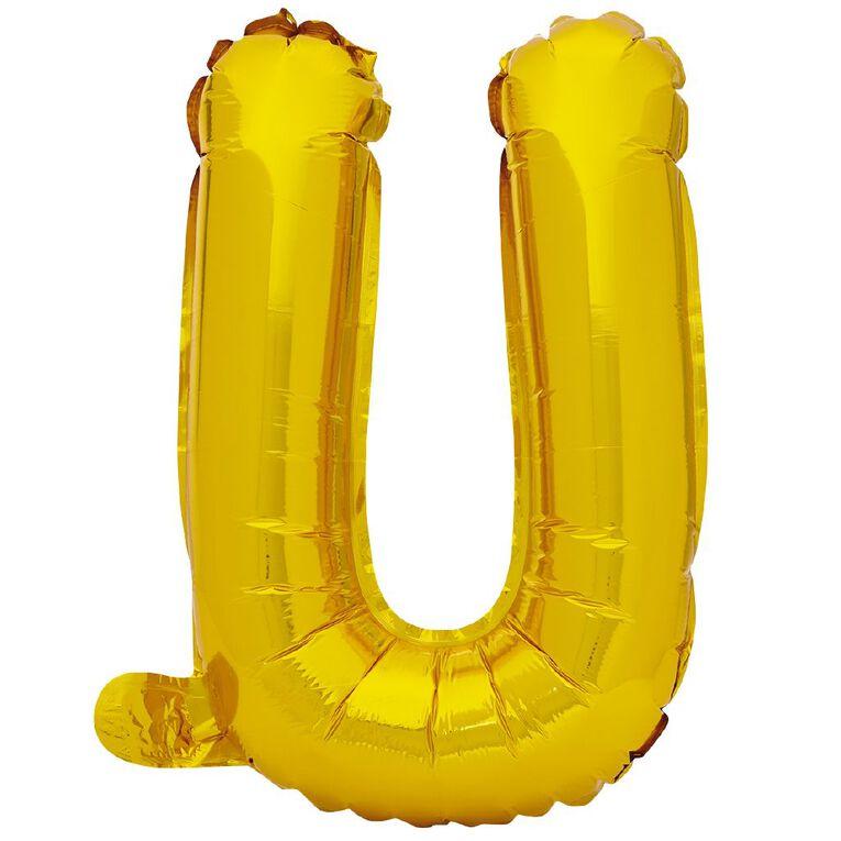 Artwrap Foil Balloon U Gold 35cm, , hi-res