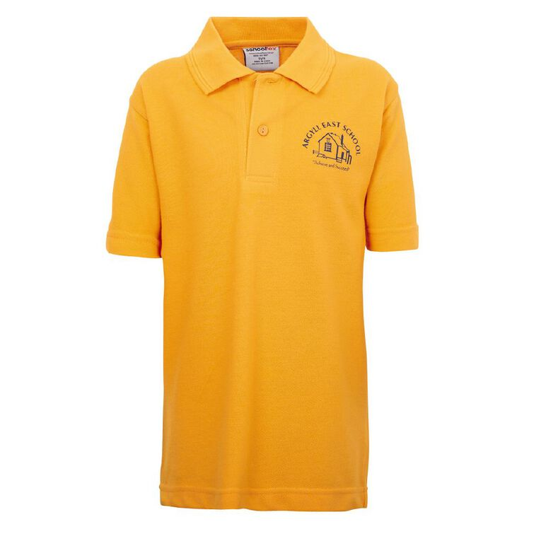 Schooltex Argyll East Short Sleeve Polo with Screenprint, Gold, hi-res