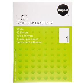 Impact Labels 20 Sheets A4/1 Sticker Sheet White