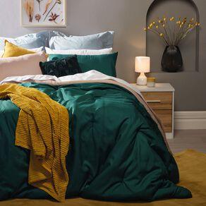 Living & Co Comforter Set 3 Piece Plain Botanical Green