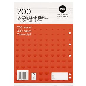 WS Pad Refill 7mm Ruled Punched Orange 200L