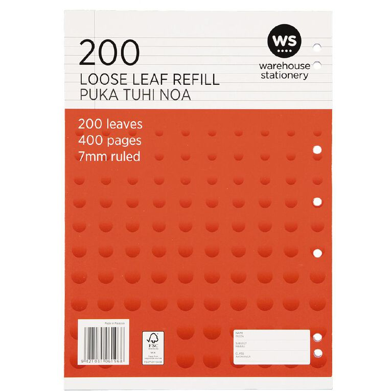 WS Pad Refill 7mm Ruled Punched Orange 200L, Orange, hi-res
