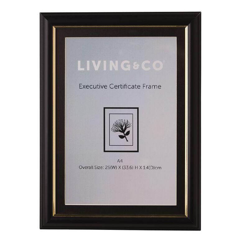 Living & Co Executive Certificate Frame Black A4, Black, hi-res