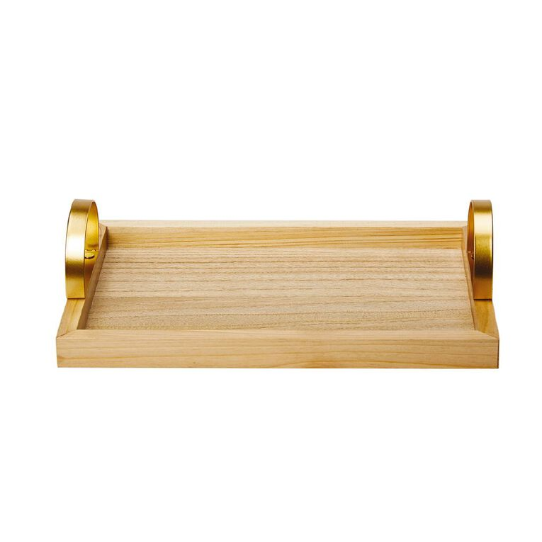 Living & Co Wooden Tray with Handles Natural, , hi-res