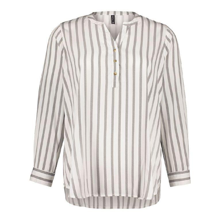 H&H Plus Women's 1/4 Placket Shirt, White, hi-res