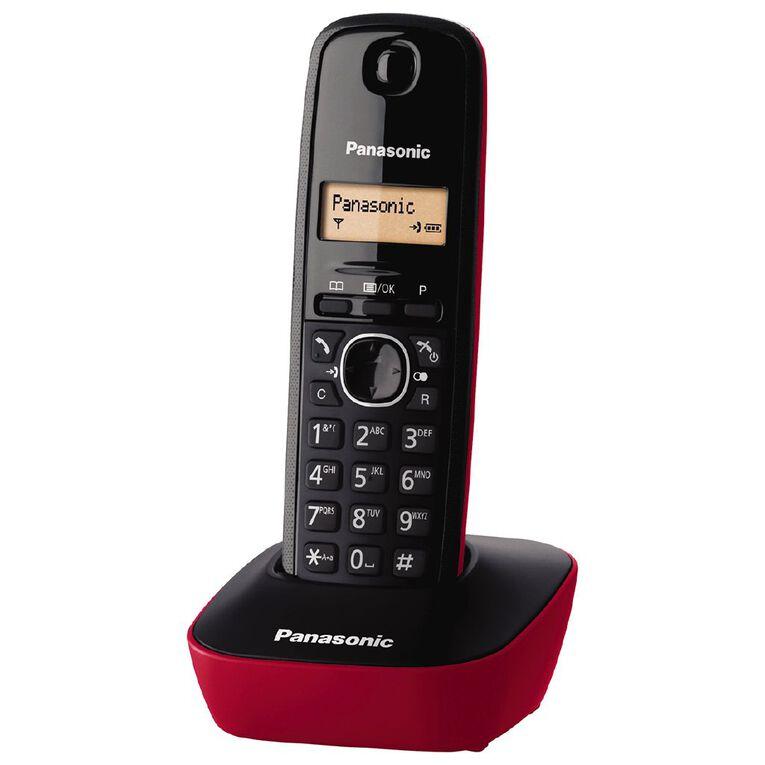 Panasonic KX-TG1611 Single Cordless Handset Red Red, , hi-res