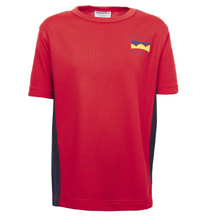 Schooltex Witherlea Sports Tee with Screenprint, Red/Navy, hi-res