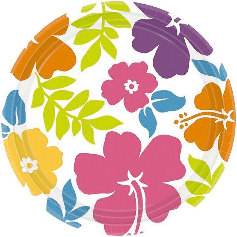 Amscan Summer Hibiscus Round Plates 17cm 8 Pack, , hi-res