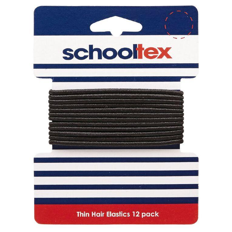 Schooltex Thin Snagless Elastics 12 Pack Black, , hi-res