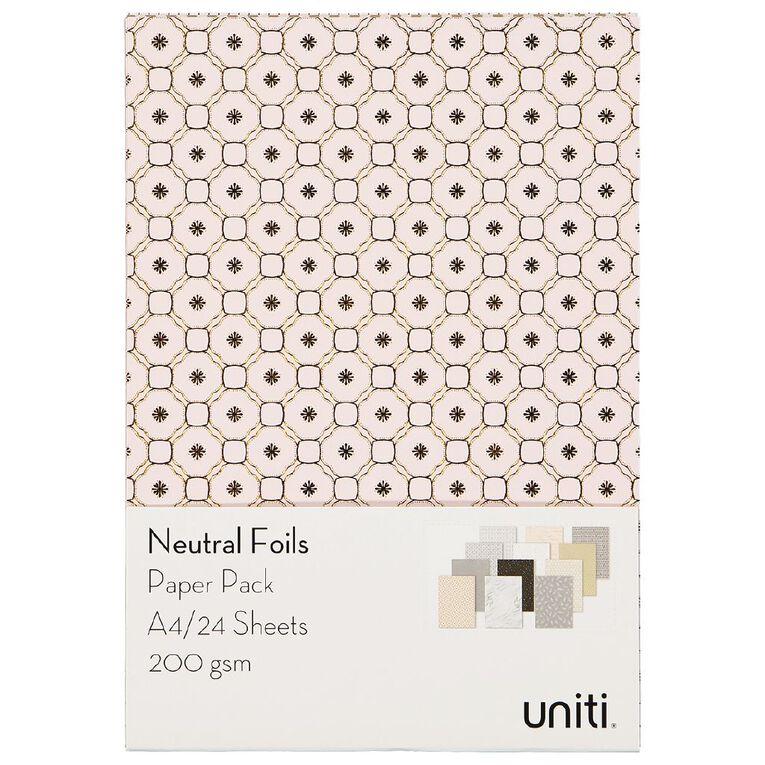 Uniti Designer Paper Pack A4 24 Sheet Neutral Foils, , hi-res