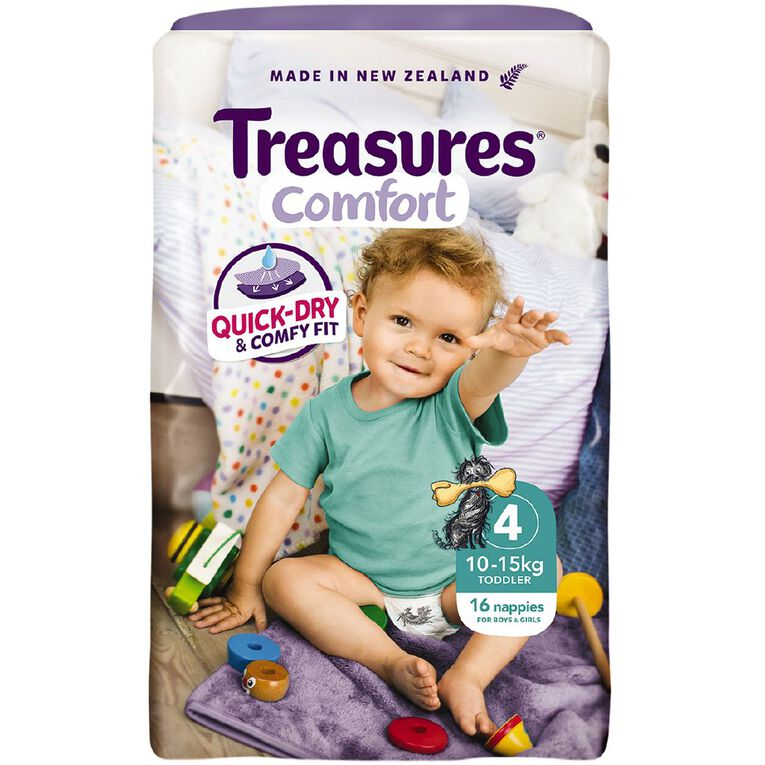 Treasures Standard Toddler Nappies 16 Pack, , hi-res