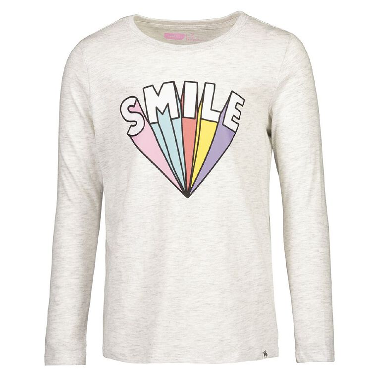 Young Original Girls' Long Sleeve Brooke Tee, Grey Light, hi-res image number null