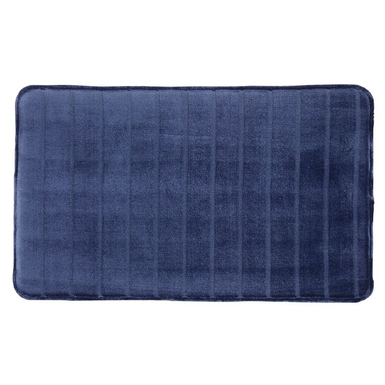 Living & Co Bath Mat Memory Foam Denim 45cm x 75cm, Denim, hi-res image number null