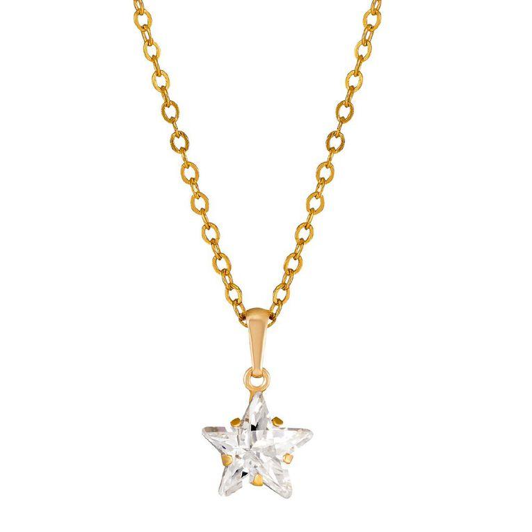 9ct Gold CZ Star Pendant, , hi-res