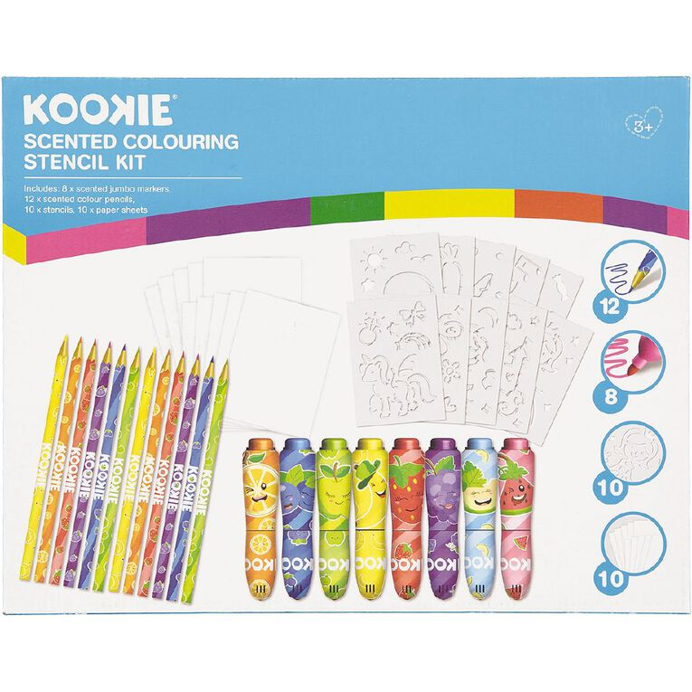 Kookie Scented Colouring Stencil Kit 40 Piece, , hi-res