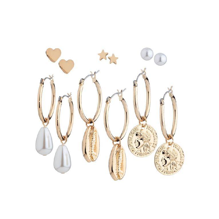 Basics Shell Hoop Earring, Gold, hi-res