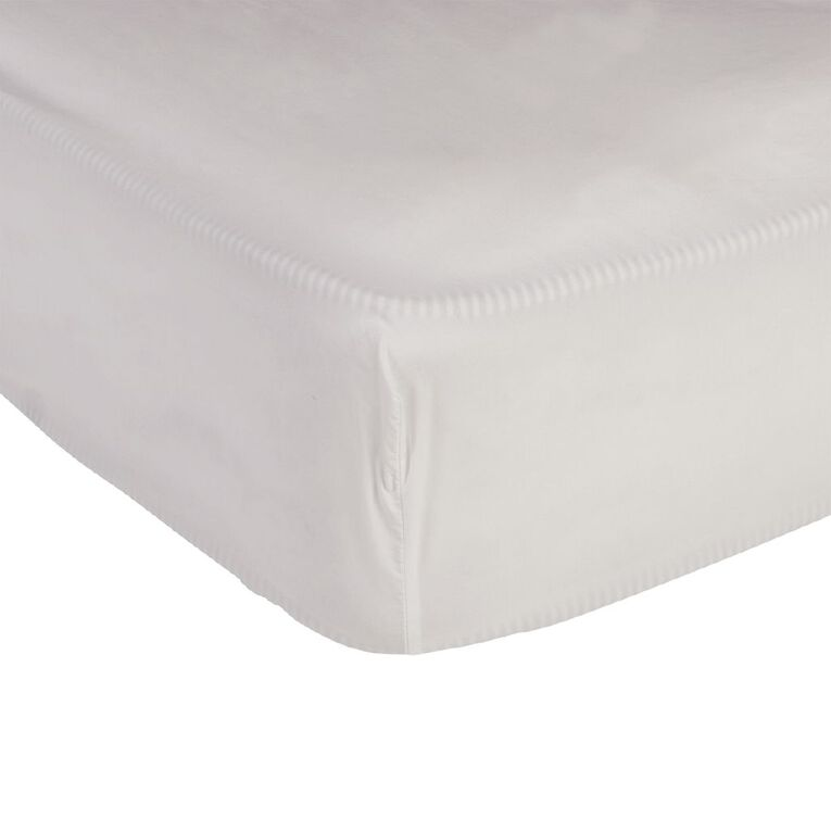 Living & Co Sheet Fitted 400 Threadcount Cotton White Single, White, hi-res