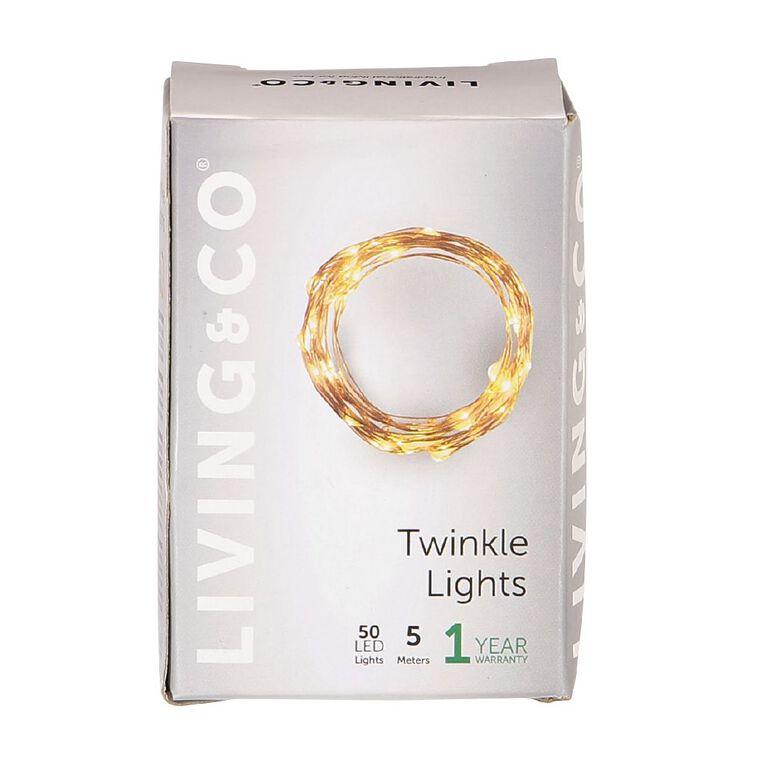 Living & Co Twinkle Light Warm White LED Copper 5m, , hi-res