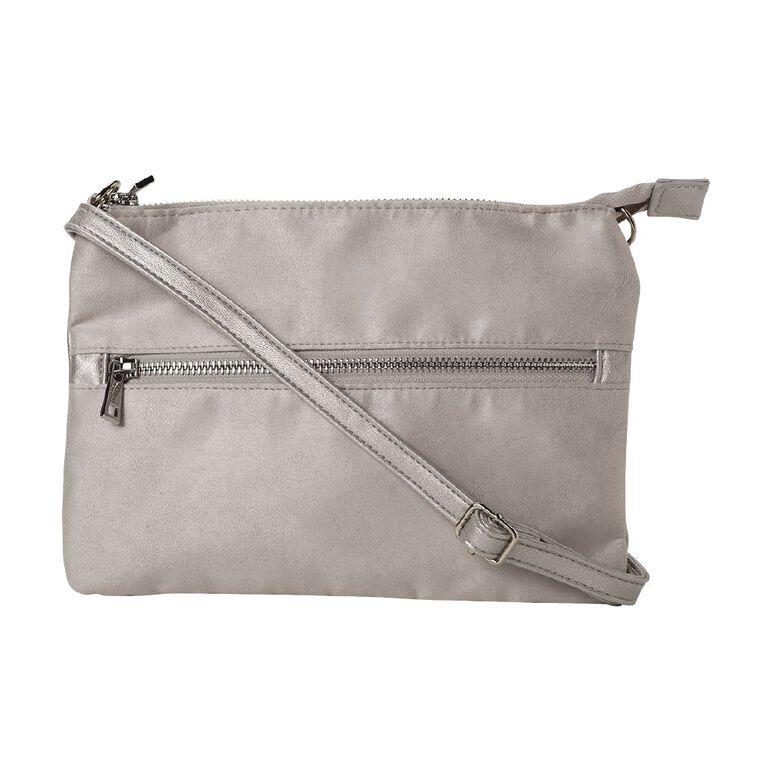 H&H Clutch Xbody Handbag, Silver, hi-res