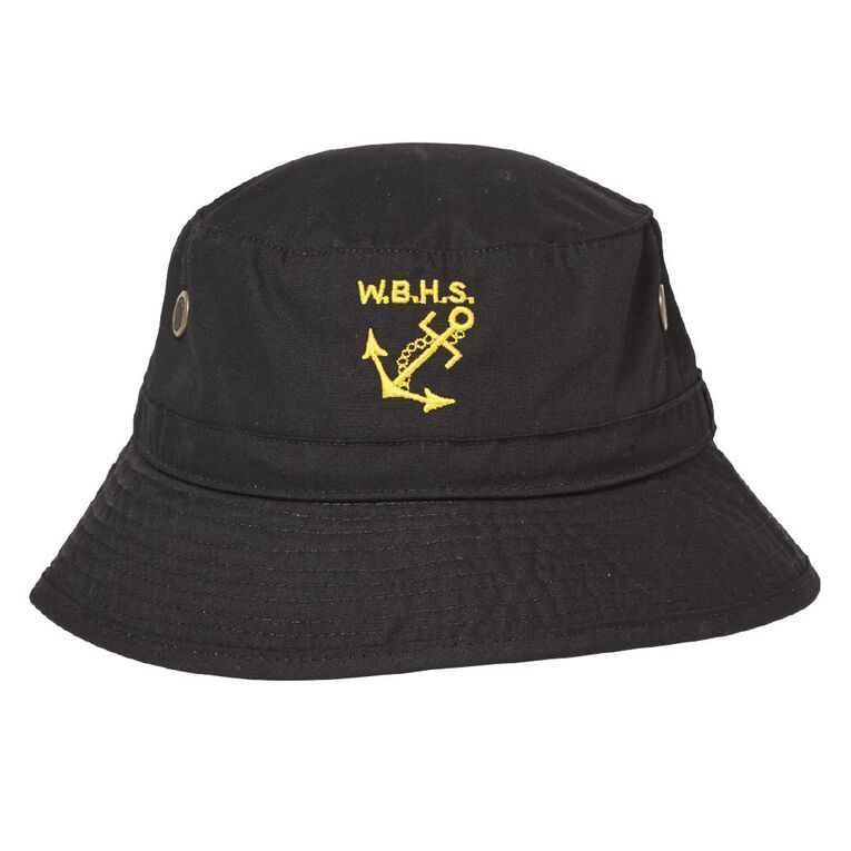 Schooltex Whangarei Boys' Bucket Hat with Embroidery, Black, hi-res