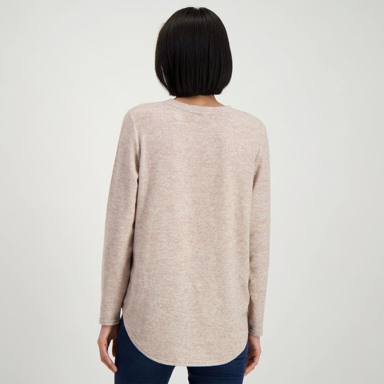 H&H Women's Brushed Knit Print Top, Taupe, hi-res
