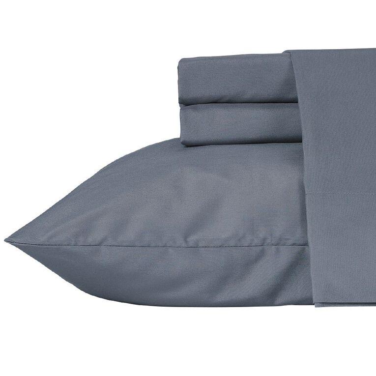 Living & Co Sheet Set Cotton Rich 270 Thread Count Blue King Single, Blue, hi-res