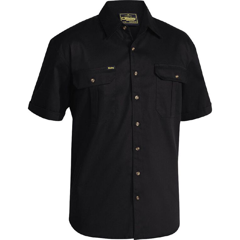 Bisley Workwear Short Sleeve Shirt, Black, hi-res