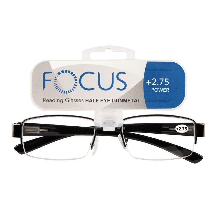 Focus Reading Glasses Half Eye Gunmetal 2.75, , hi-res