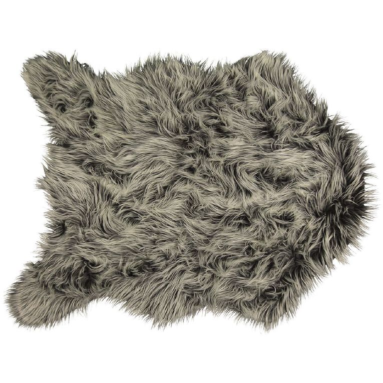 Living & Co Faux Fur Icelandic Rug Grey 90cm x 120cm, Grey, hi-res