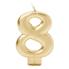 Candle Metallic Numeral #8 Gold