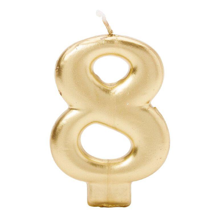 Candle Metallic Numeral #8 Gold, , hi-res