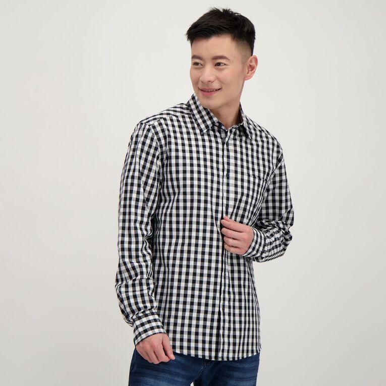 H&H Men's Long Sleeve Classic Check Shirt, Black/White, hi-res image number null