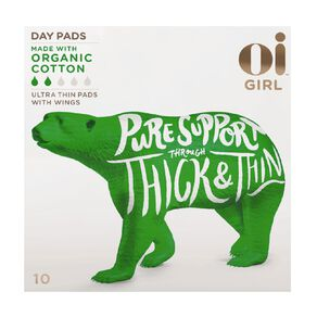 Oi Girl Organic Cotton Ultrathin Regular Pads Wings 10 Pack
