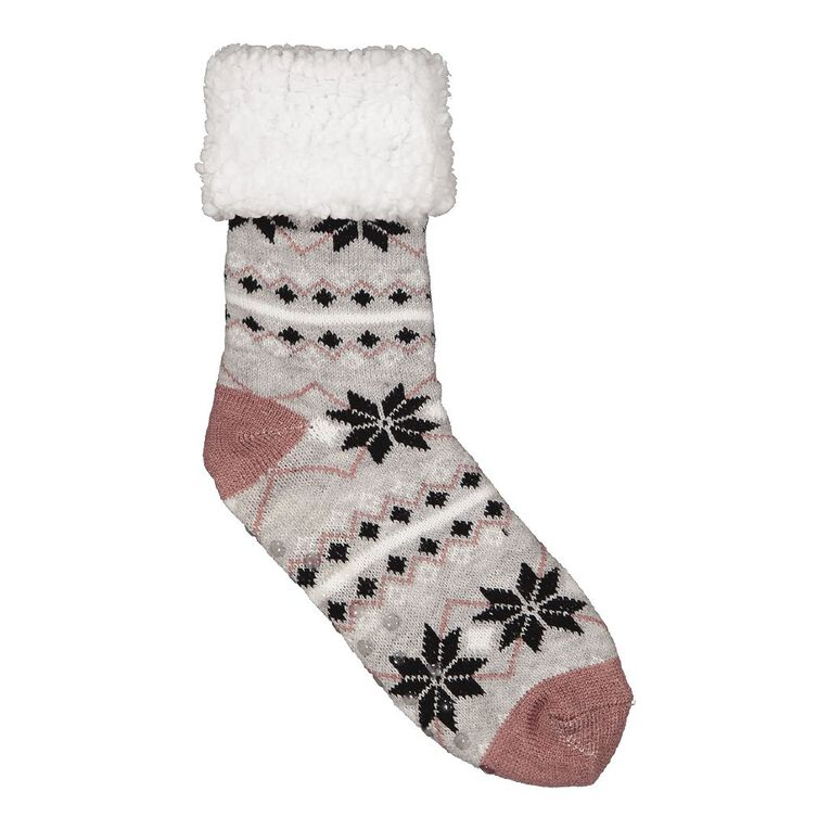 H&H Women's Sherpa Lined Socks 1 Pair, Grey Marle, hi-res