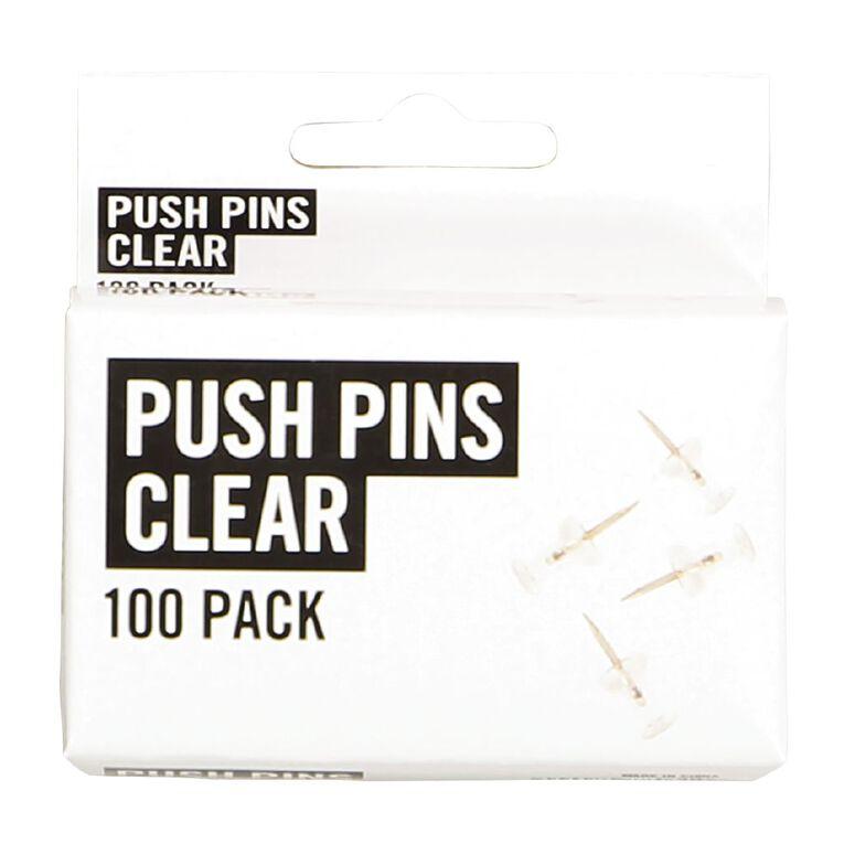 No Brand Push Pins Clear 100 Pack, , hi-res